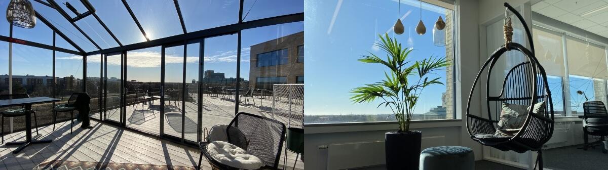 Bilder på inLinks kontor och soltak