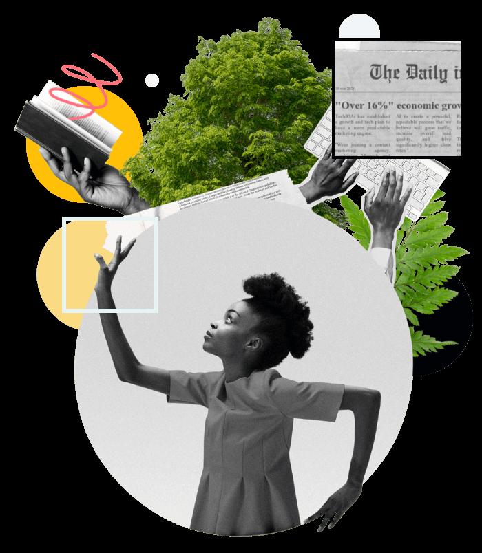 omslag-clipart-kvinna-trad-tagentbord-nyhetsklipp-fargblock